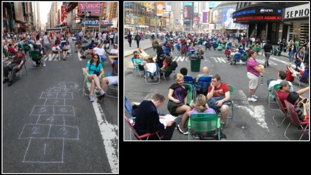 Křižovatka světa bez aut, z Times Square je pěší zóna